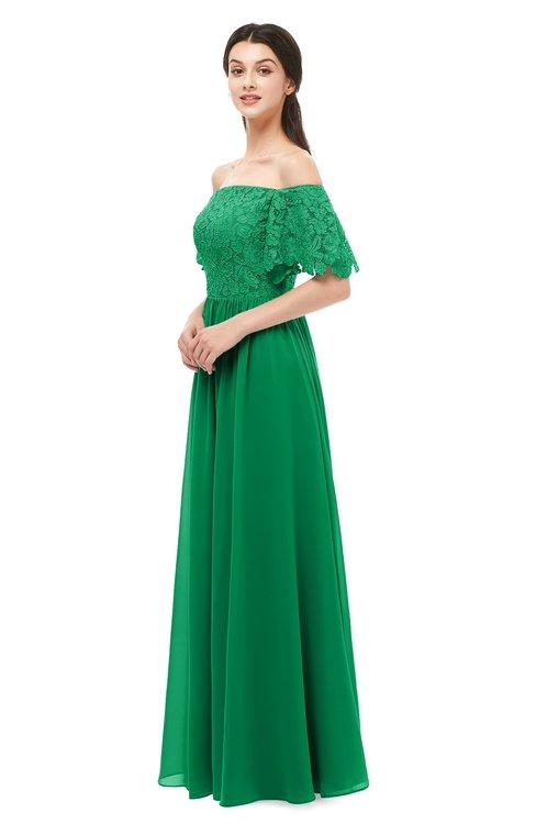 ColsBM Ingrid Green Bridesmaid Dresses Half Backless Glamorous A-line Strapless Short Sleeve Pleated