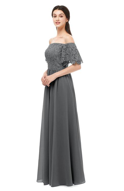 ColsBM Ingrid Grey Bridesmaid Dresses Half Backless Glamorous A-line Strapless Short Sleeve Pleated