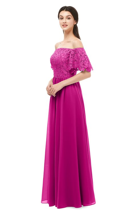 ColsBM Ingrid Hot Pink Bridesmaid Dresses Half Backless Glamorous A-line Strapless Short Sleeve Pleated