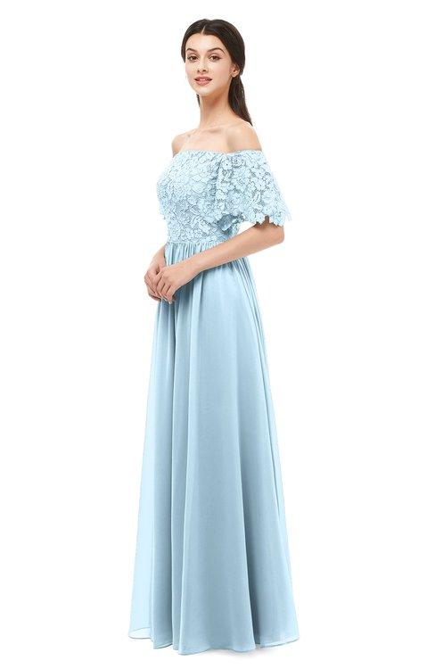 ColsBM Ingrid Ice Blue Bridesmaid Dresses Half Backless Glamorous A-line Strapless Short Sleeve Pleated
