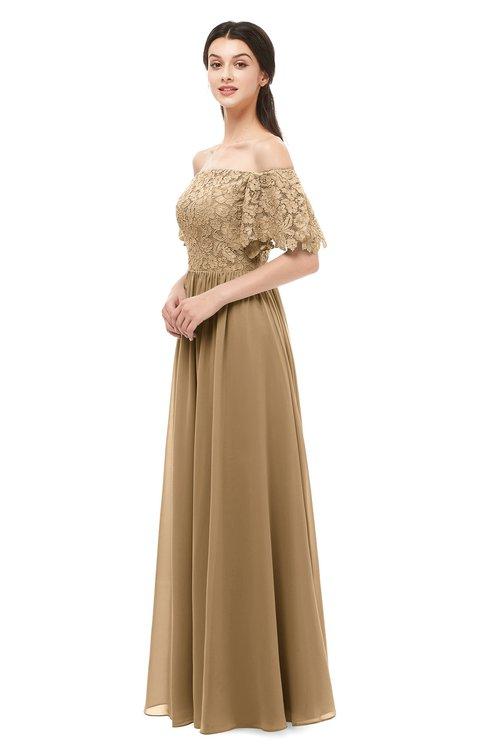 ColsBM Ingrid Indian Tan Bridesmaid Dresses Half Backless Glamorous A-line Strapless Short Sleeve Pleated