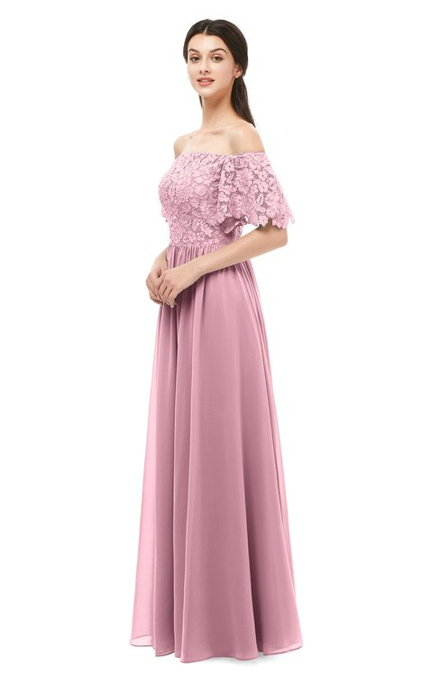 ColsBM Ingrid Light Coral Bridesmaid Dresses Half Backless Glamorous A-line Strapless Short Sleeve Pleated