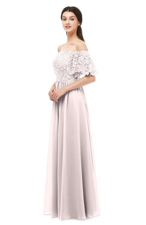 ColsBM Ingrid Light Pink Bridesmaid Dresses Half Backless Glamorous A-line Strapless Short Sleeve Pleated