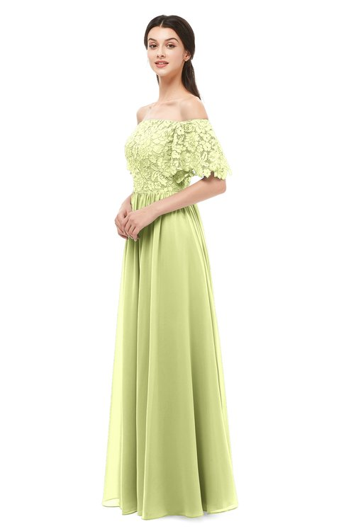 ColsBM Ingrid Lime Green Bridesmaid Dresses Half Backless Glamorous A-line Strapless Short Sleeve Pleated