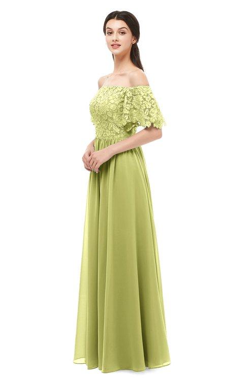 ColsBM Ingrid Linden Green Bridesmaid Dresses Half Backless Glamorous A-line Strapless Short Sleeve Pleated