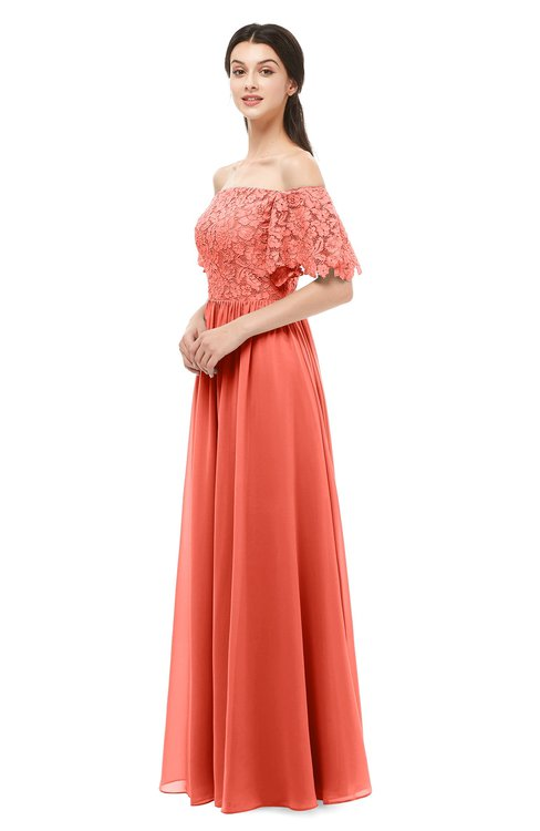 ColsBM Ingrid Living Coral Bridesmaid Dresses Half Backless Glamorous A-line Strapless Short Sleeve Pleated