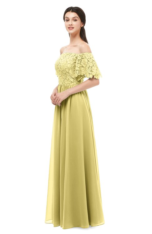 ColsBM Ingrid Misted Yellow Bridesmaid Dresses Half Backless Glamorous A-line Strapless Short Sleeve Pleated