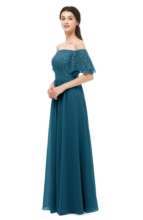 ColsBM Ingrid Moroccan Blue Bridesmaid Dresses Half Backless Glamorous A-line Strapless Short Sleeve Pleated