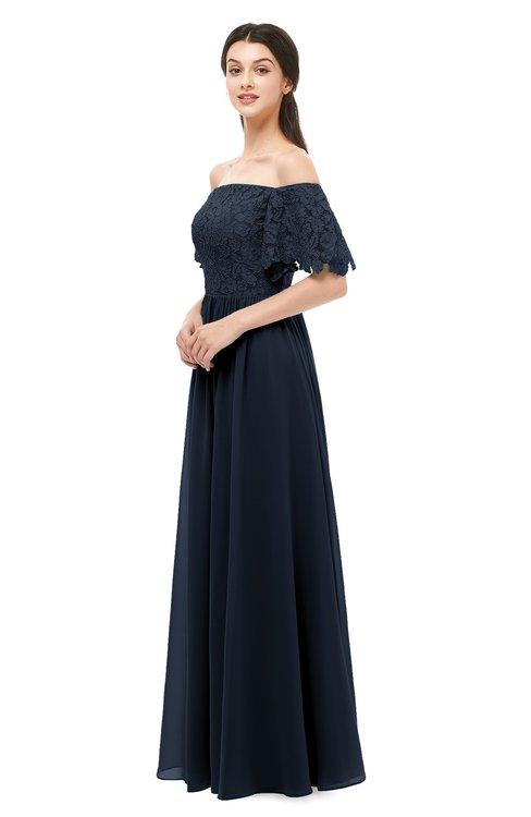 ColsBM Ingrid Navy Blue Bridesmaid Dresses Half Backless Glamorous A-line Strapless Short Sleeve Pleated
