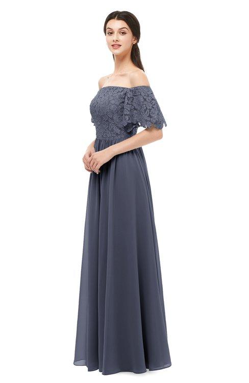 ColsBM Ingrid Nightshadow Blue Bridesmaid Dresses Half Backless Glamorous A-line Strapless Short Sleeve Pleated