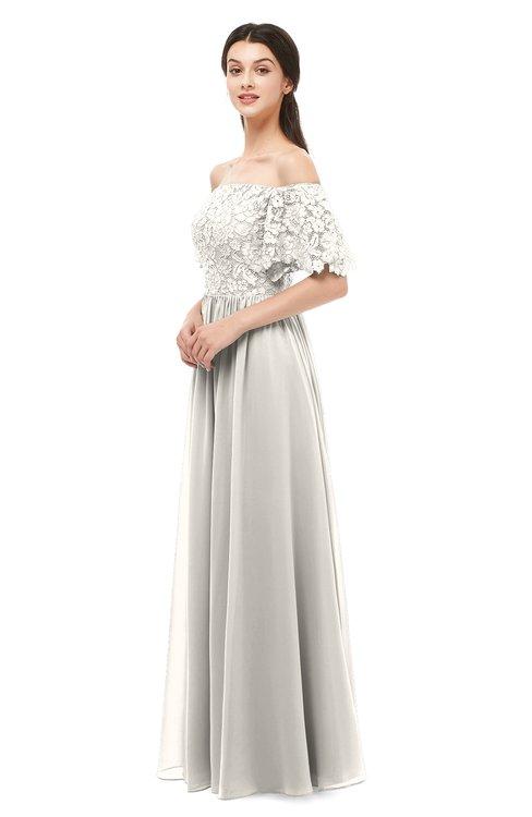 ColsBM Ingrid Off White Bridesmaid Dresses Half Backless Glamorous A-line Strapless Short Sleeve Pleated