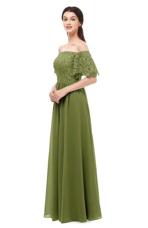 ColsBM Ingrid Olive Green Bridesmaid Dresses Half Backless Glamorous A-line Strapless Short Sleeve Pleated