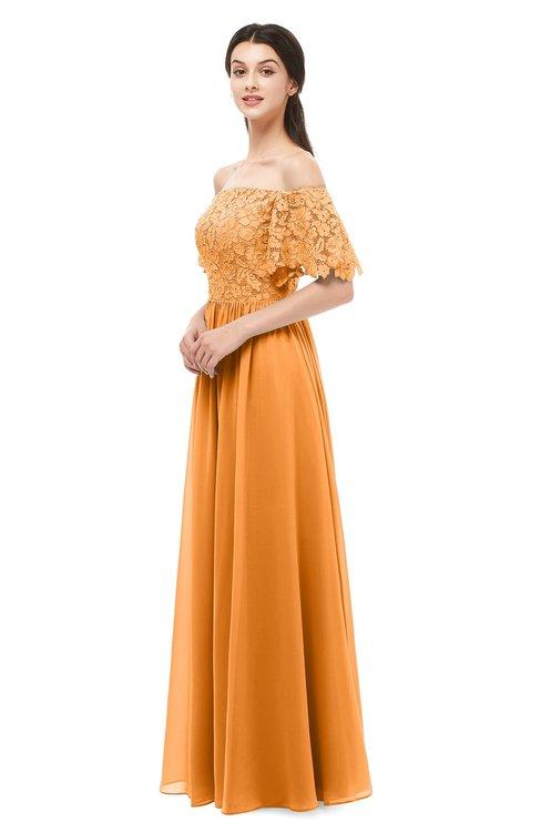 ColsBM Ingrid Orange Bridesmaid Dresses Half Backless Glamorous A-line Strapless Short Sleeve Pleated