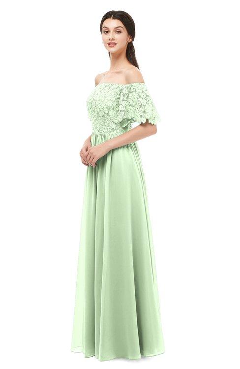 ColsBM Ingrid Pale Green Bridesmaid Dresses Half Backless Glamorous A-line Strapless Short Sleeve Pleated