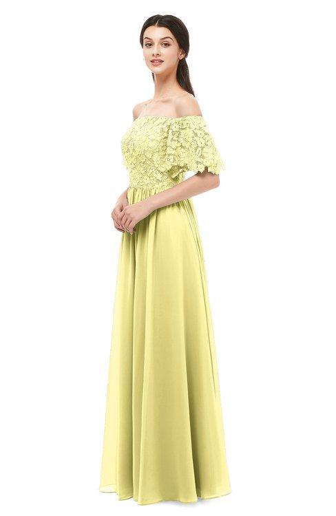 ColsBM Ingrid Pastel Yellow Bridesmaid Dresses Half Backless Glamorous A-line Strapless Short Sleeve Pleated