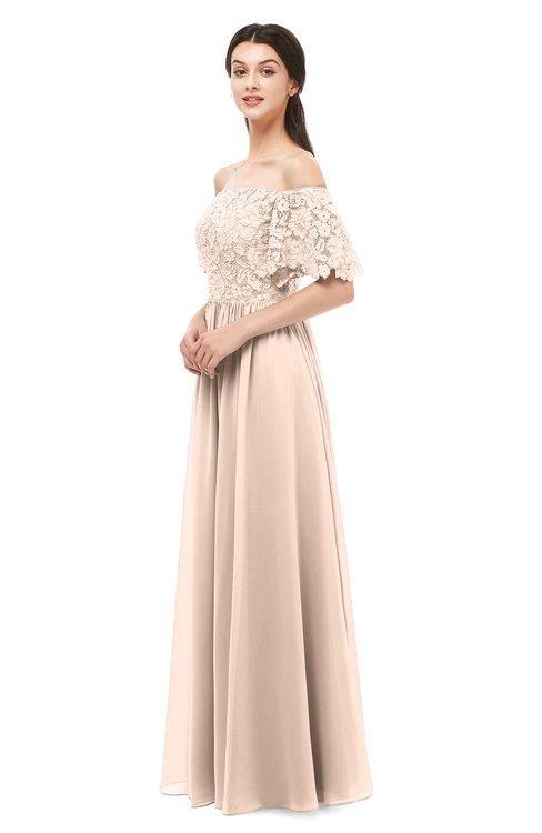 ColsBM Ingrid Peach Puree Bridesmaid Dresses Half Backless Glamorous A-line Strapless Short Sleeve Pleated
