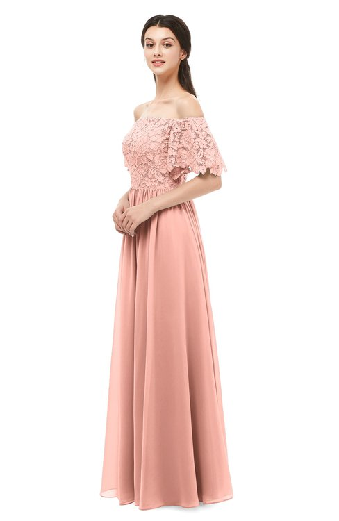 ColsBM Ingrid Peach Bridesmaid Dresses Half Backless Glamorous A-line Strapless Short Sleeve Pleated