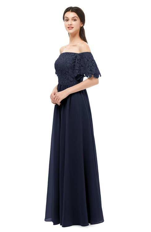 ColsBM Ingrid Peacoat Bridesmaid Dresses Half Backless Glamorous A-line Strapless Short Sleeve Pleated
