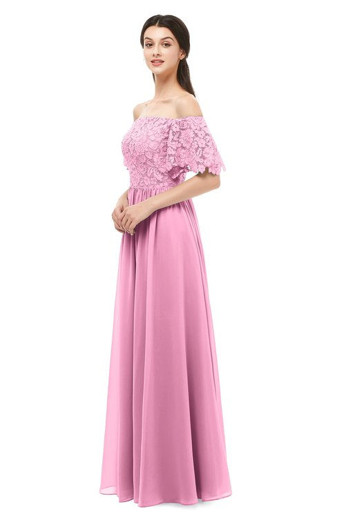ColsBM Ingrid Pink Bridesmaid Dresses Half Backless Glamorous A-line Strapless Short Sleeve Pleated