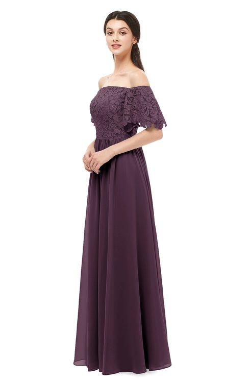 ColsBM Ingrid Plum Bridesmaid Dresses Half Backless Glamorous A-line Strapless Short Sleeve Pleated