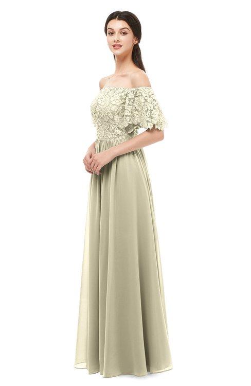 ColsBM Ingrid Putty Bridesmaid Dresses Half Backless Glamorous A-line Strapless Short Sleeve Pleated