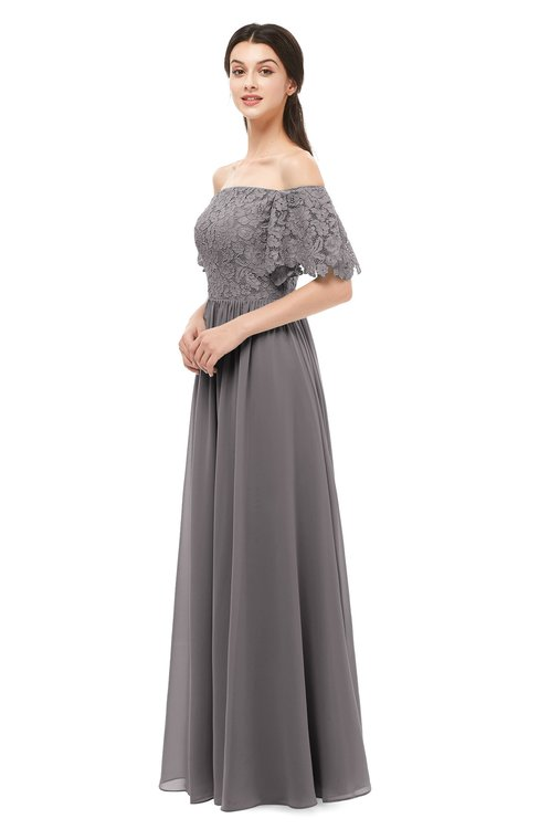 ColsBM Ingrid Ridge Grey Bridesmaid Dresses Half Backless Glamorous A-line Strapless Short Sleeve Pleated