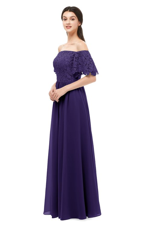 ColsBM Ingrid Royal Purple Bridesmaid Dresses Half Backless Glamorous A-line Strapless Short Sleeve Pleated