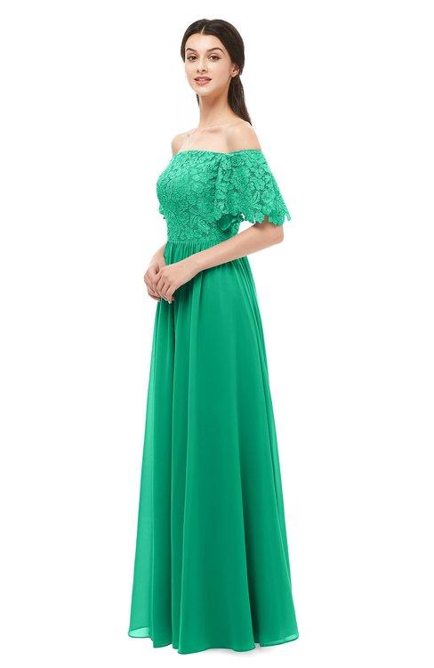ColsBM Ingrid Sea Green Bridesmaid Dresses Half Backless Glamorous A-line Strapless Short Sleeve Pleated