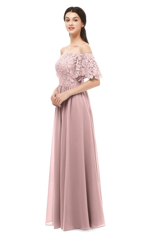 ColsBM Ingrid Silver Pink Bridesmaid Dresses Half Backless Glamorous A-line Strapless Short Sleeve Pleated