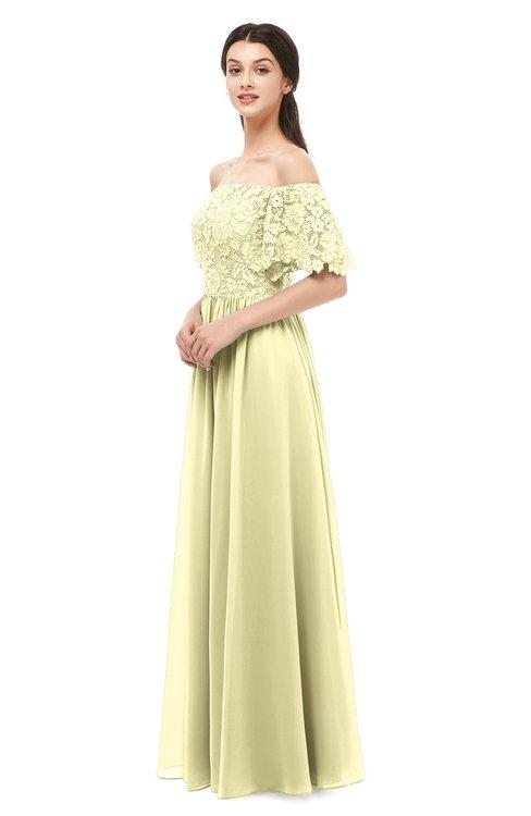 ColsBM Ingrid Soft Yellow Bridesmaid Dresses Half Backless Glamorous A-line Strapless Short Sleeve Pleated