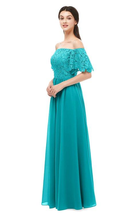 ColsBM Ingrid Teal Bridesmaid Dresses Half Backless Glamorous A-line Strapless Short Sleeve Pleated