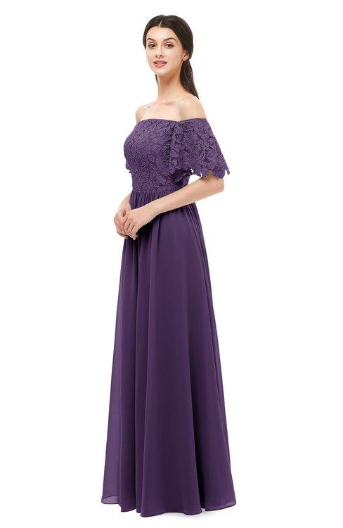 ColsBM Ingrid Violet Bridesmaid Dresses Half Backless Glamorous A-line Strapless Short Sleeve Pleated