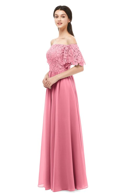 ColsBM Ingrid Watermelon Bridesmaid Dresses Half Backless Glamorous A-line Strapless Short Sleeve Pleated