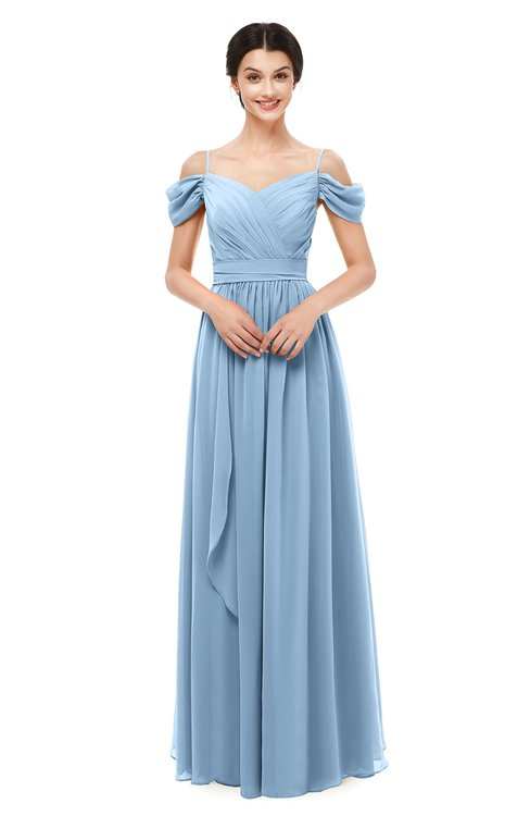 ColsBM Skylar Dusty Blue Bridesmaid Dresses Spaghetti Sexy Zip up Floor Length A-line Pleated