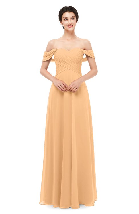 ColsBM Lydia Apricot Bridesmaid Dresses Sweetheart A-line Floor Length Modern Ruching Short Sleeve