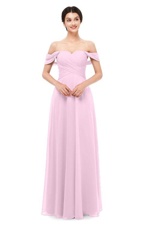 ColsBM Lydia Baby Pink Bridesmaid Dresses Sweetheart A-line Floor Length Modern Ruching Short Sleeve