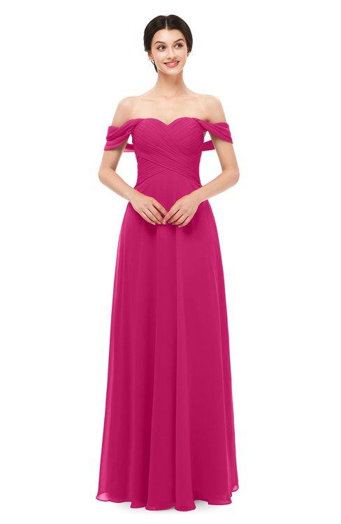 ColsBM Lydia Beetroot Purple Bridesmaid Dresses Sweetheart A-line Floor Length Modern Ruching Short Sleeve
