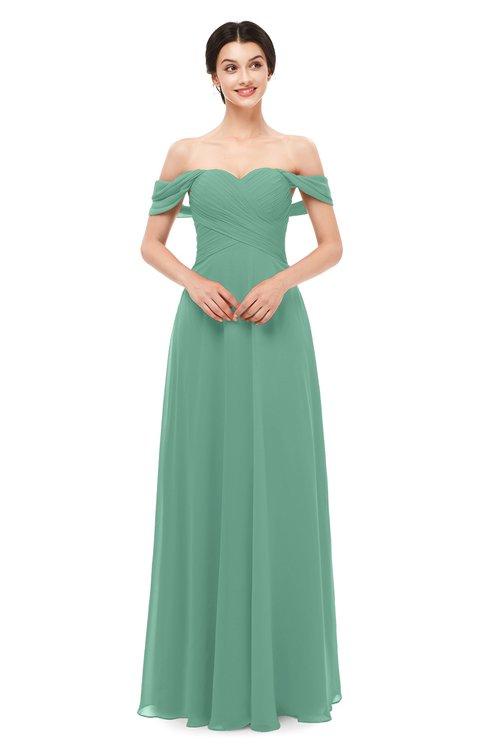 ColsBM Lydia Beryl Green Bridesmaid Dresses Sweetheart A-line Floor Length Modern Ruching Short Sleeve