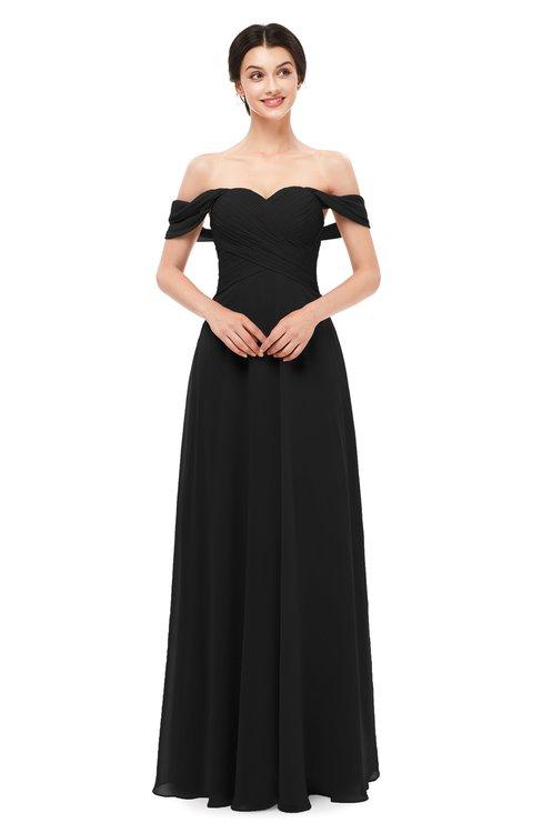 ColsBM Lydia Black Bridesmaid Dresses Sweetheart A-line Floor Length Modern Ruching Short Sleeve