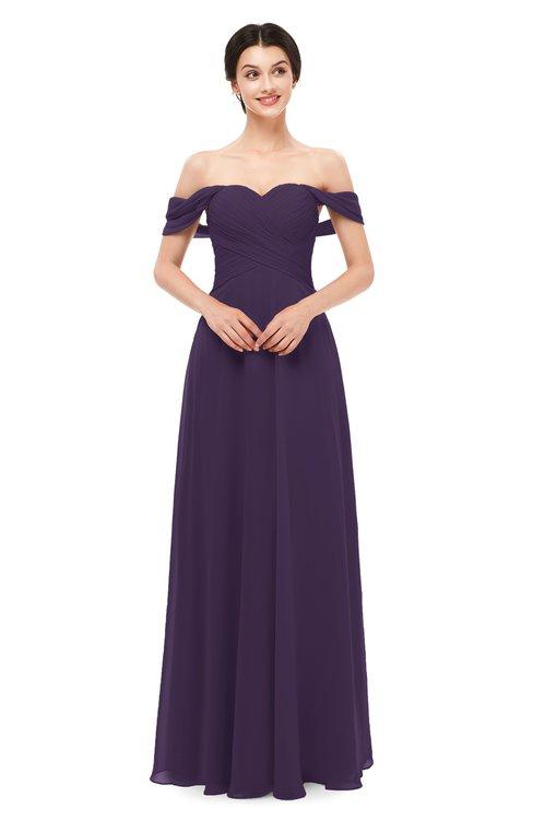 ColsBM Lydia Blackberry Cordial Bridesmaid Dresses Sweetheart A-line Floor Length Modern Ruching Short Sleeve