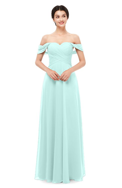 ColsBM Lydia Blue Glass Bridesmaid Dresses Sweetheart A-line Floor Length Modern Ruching Short Sleeve