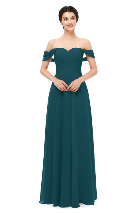 ColsBM Lydia Blue Green Bridesmaid Dresses Sweetheart A-line Floor Length Modern Ruching Short Sleeve