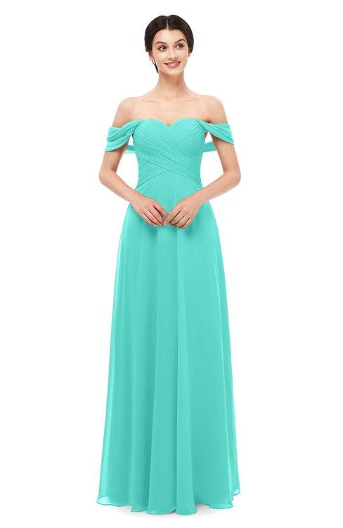 ColsBM Lydia Blue Turquoise Bridesmaid Dresses Sweetheart A-line Floor Length Modern Ruching Short Sleeve