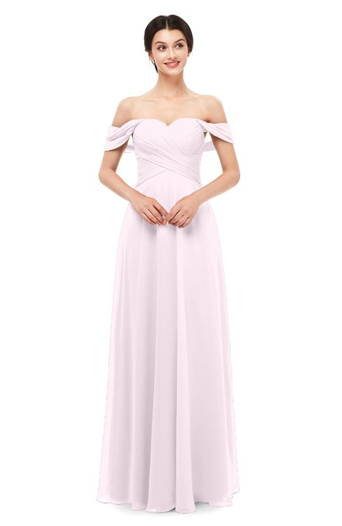ColsBM Lydia Blush Bridesmaid Dresses Sweetheart A-line Floor Length Modern Ruching Short Sleeve
