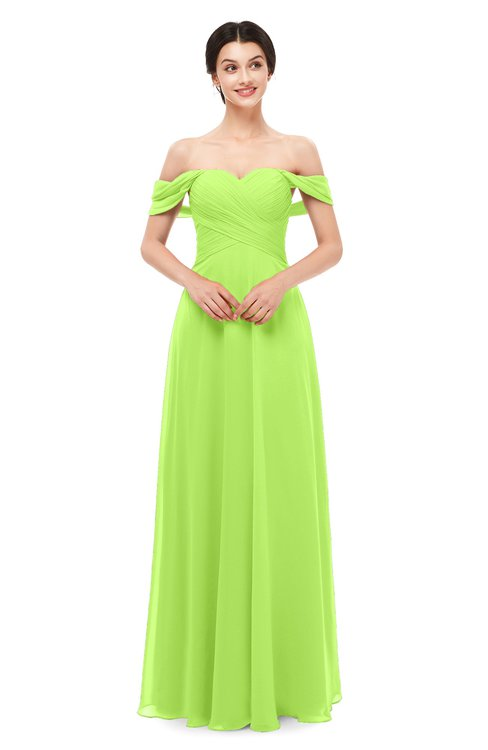 ColsBM Lydia Bright Green Bridesmaid Dresses Sweetheart A-line Floor Length Modern Ruching Short Sleeve
