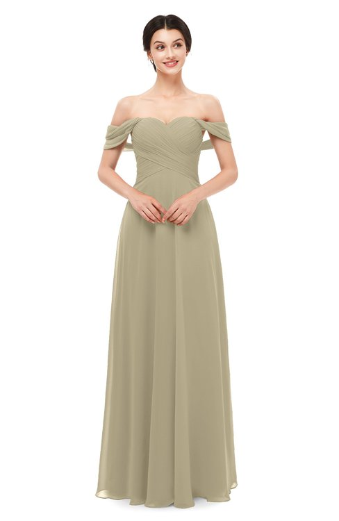 ColsBM Lydia Candied Ginger Bridesmaid Dresses Sweetheart A-line Floor Length Modern Ruching Short Sleeve