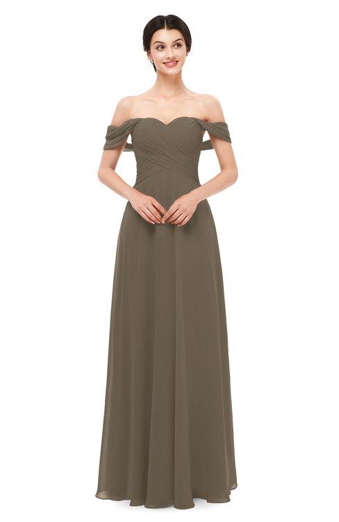ColsBM Lydia Carafe Brown Bridesmaid Dresses Sweetheart A-line Floor Length Modern Ruching Short Sleeve