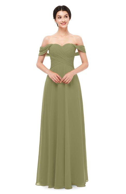 ColsBM Lydia Cedar Bridesmaid Dresses Sweetheart A-line Floor Length Modern Ruching Short Sleeve