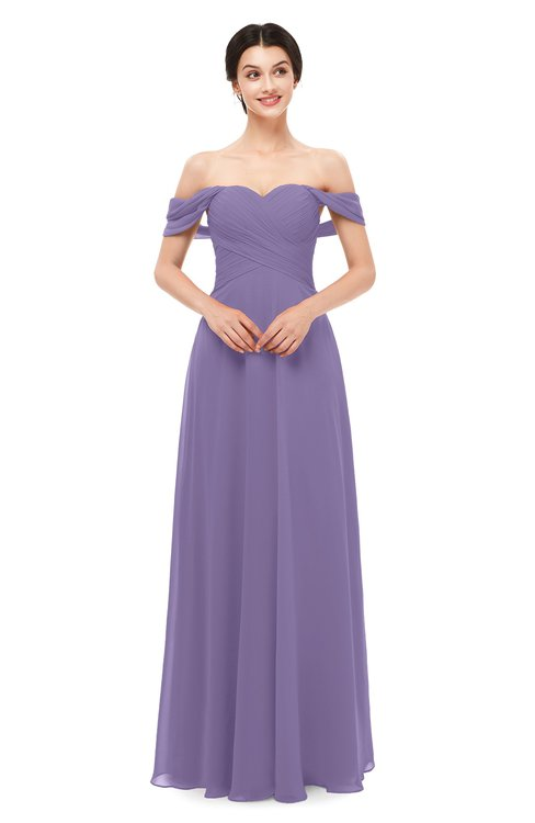 ColsBM Lydia Chalk Violet Bridesmaid Dresses Sweetheart A-line Floor Length Modern Ruching Short Sleeve