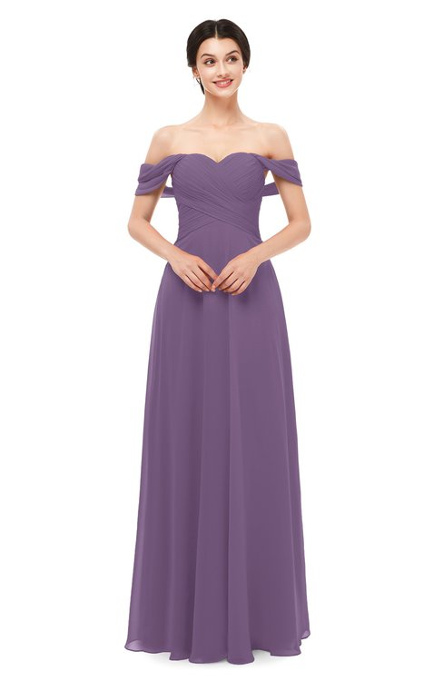 ColsBM Lydia Chinese Violet Bridesmaid Dresses Sweetheart A-line Floor Length Modern Ruching Short Sleeve